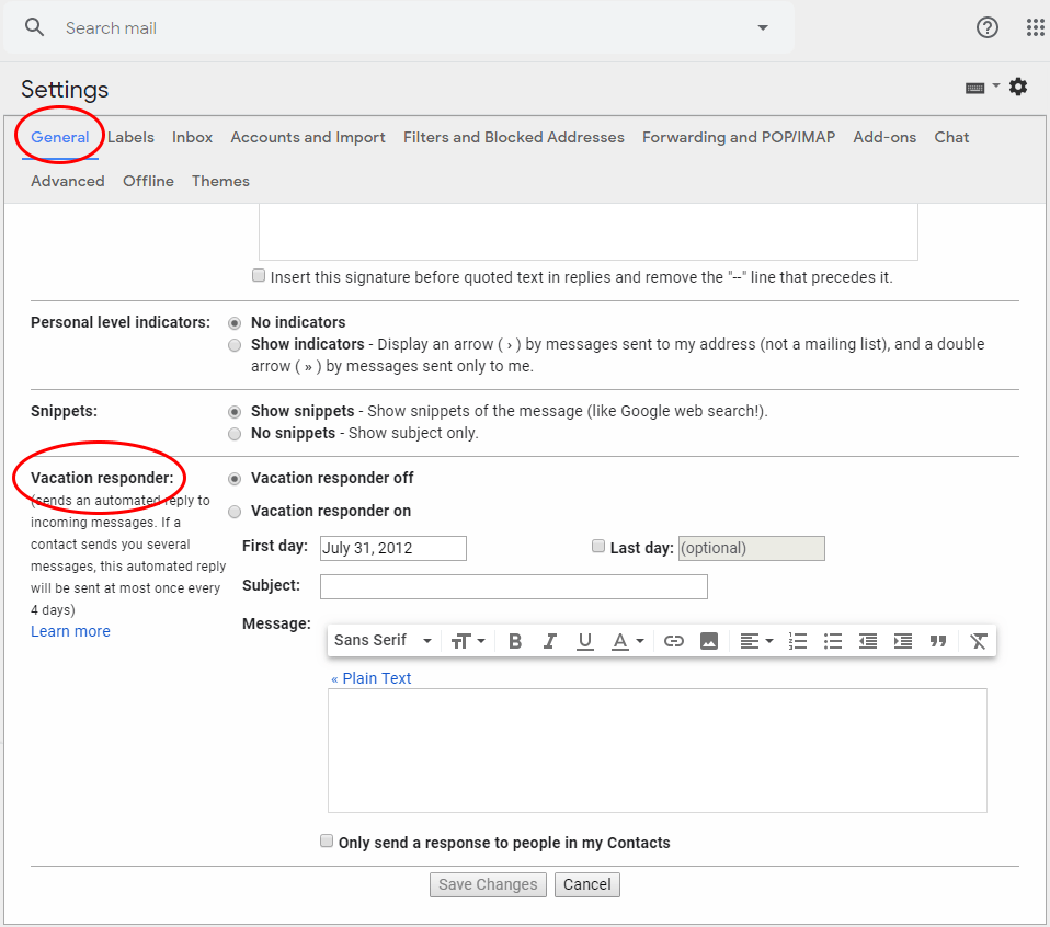Gmail Settings - General Tab - Auto Reply on Gmail